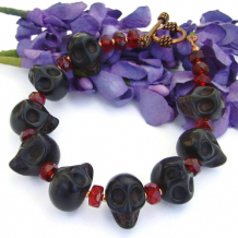 GOTH MIDNIGHT - Goth Black Skulls Handmade Bracelet, Red Crystals Halloween Jewelry