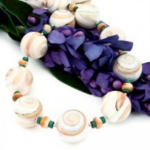 CONCHA DEL MAR - Operculum Shell Spiny Oyster Turquoise Chunky Necklace, Handmade Jewelry