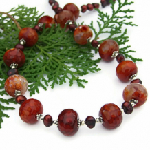 CRESCENDO - Red Fire Agate Handmade Gemstone Necklace, Pearls Beaded Jewelry