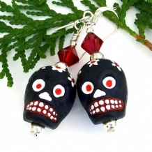 """Eeeek"" - Ceramic Sugar Skull Earrings, Day of the Dead Halloween Handmade Skulls Jewelry"