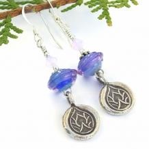 """Enlightenment"" - Thai Silver Lotus Handmade Earrings Purple Blue Lampwork Yoga Jewelry"