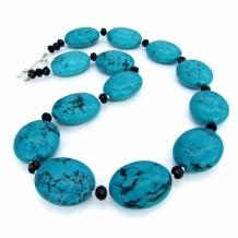 """""""Evensong of the Southwest"""" - Chunky Blue Turquoise Southwest Necklace, Black Onyx Unique Artisan Handmade Gemstone Jewelry"""