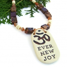 """Ever New Joy"" - Om Aum Handmade Pendant Necklace, Jasper Sunstone Bone Artisan Yoga Jewelry"