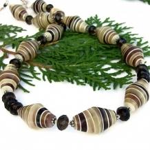 NAIROBI SPICE - Handmade Necklace, Vintage Glass Smoky Quartz Brown Beaded Jewelry