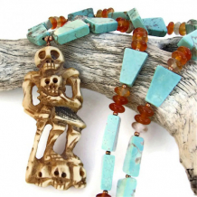 SKELETOR - Skeleton Handmade Day of the Dead Necklace Turquoise Carnelian