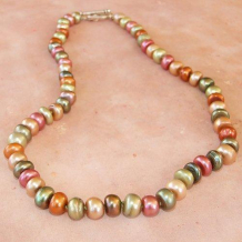 FLOWER SONGS OF THE MEADOW - Spring Button Pearls Handknotted Silk Handmade Necklace
