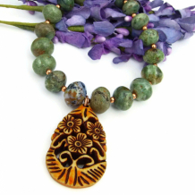 INTRIGUING - Carved Bone Flower Necklace, Green African Opal Handmade Jewelry Gift