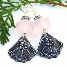 """Florentina"" - Handmade Goth Flower Earrings, Pink Lampwork Crystals Beaded Artisan Jewelry"