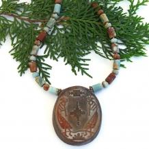 """Flute Dancer"" - Kokopelli Southwest Necklace, Handmade Artisan Jasper Gemstone Jewelry"