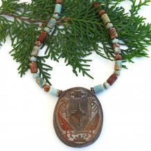 """Flute Dancer"" - Kokopelli Southwest Necklace, Handmade Artisan Jasper Gemstone Jewelry"
