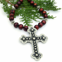 FOR HIS LOVE - Budded Cross Christian Necklace, Burgundy Pearls Pewter Sterling Handmade Artisan Jewelry