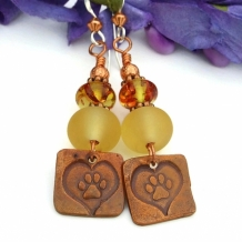 FOR LOVE OF A DOG - Dog Paw Print Hearts Earrings, Yellow Lampwork Amber Copper Jewelry