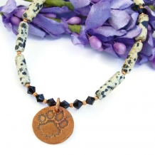 """For Love of a Dog"" Dog Rescue Paw Print Necklace Dalmatian Jasper Swarovski Handmade OOAK"