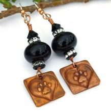 """""""For Love of a Dog"""" - Dog Love Earrings Paw Prints Hearts Handmade Black Lampwork Copper"""