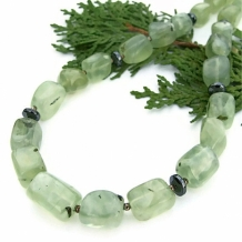 """Forest Medley"" - Green Prehnite Handmade Necklace, Hematite Gemstone Artisan Spring Summer Jewelry"