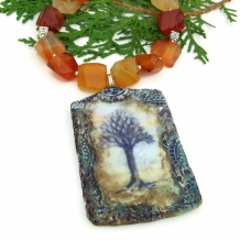FOREST SENTINEL - Tree of Life Carnelian Necklace, Polymer Clay Gemstone Handmade Jewelry