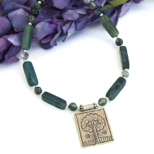 """FOREST WISDOM"" - Tree of Life Fine Silver Pendant Necklace, Green Moss Agate Thai Hill Tribes Handmade Jewelry"