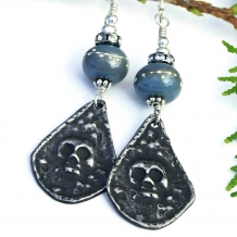 """Gothic Goodness"" - Goth Skull Handmade Earrings, Halloween Day of the Dead Gray Lampwork Crystals Jewelry"