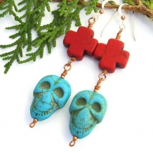 CALAVERAS Y CRUCES - Halloween Jewelry Skull Crosses Earrings, Day of the Dead