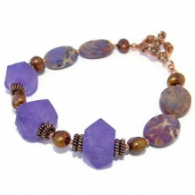 PLUM CRAZY - Handmade Bracelet, Purple Recycled Glass Sea Sediment Jasper Jewelry