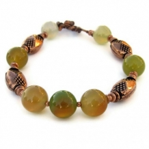 GOLDEN GREENS - Green Agate Copper Handmade Bracelet, Gemstone Beaded Jewelry