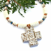 HEALER'S CROSS - Healer's Hand Cross Necklace, Southwest Bone Turquoise Handmade Jewelry