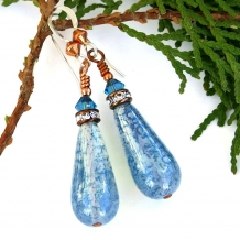 ICY BLUE - Icy Blue Teardrop Czech Glass Earrings, Swarovski Crystals Handmade Jewelry