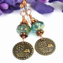 ISLAND DREAMING - Vintage Brass Sun, Island and Ocean Charm Earrings, Handmade Jewelry