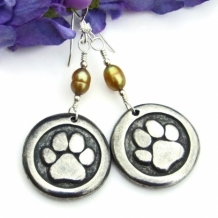 """Love a Dog"" - Dog Paw Print and St. Francis Earrings, Pewter Pearls Handmade Rescue Jewelry"