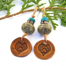 """Love Always"" - Copper Paw Print Dog Rescue Handmade Earrings, Lampwork Turquoise Jewelry"