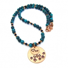 LOVE MY DOG - Love My Dog Copper Pendant Necklace, Turquoise Beaded Handmade Jewelry