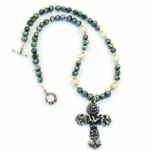 LOVE THE EARTH - Earth Cross Necklace, Christian Jewelry Sun Dove Flower Ichthys Pearls
