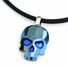METALLIC BLUE SKULL - Skull Necklace, Crystal Metallic Blue Black Leather Handmade Jewelry