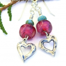 """Mi Corazon"" Sterling Heart Earrings with Pink Lampwork and Turquoise"