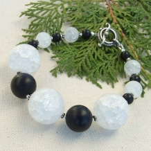"""Midnight Moon"" -  Crackle Quartz and Black Onyx Bracelet, Handmade Chunky Gemstone Jewelry"