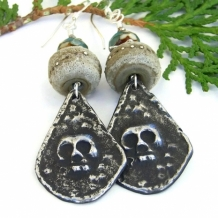 """Misterioso"" - Handmade Skull Goth Earrings, Lampwork Artisan Day of the Dead Halloween Jewelry"