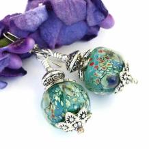MONET'S WATER LILIES - Water Lilies Impressionist Lampwork Earrings, Monet Sterling Handmade Jewelry