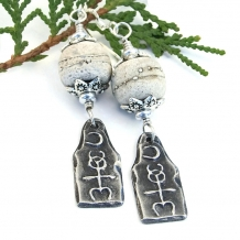 """Moon Over Monad"" - Mystical Monad and Rustic Lampwork Earrings, Handmade Pewter Glyph Sterling Artisan Jewelry"