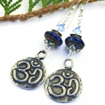 NOW AND ZEN - OM and Lotus Zen Yoga Earrings, Aum Blue Pewter Handmade Jewelry