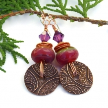 """Paisley Sunrise"" - Copper Paisley Disc and Sunrise Lampwork Boho Earrings, Pink Purple Handmade Artisan Jewelry"