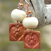 """""""Paws Across My Heart"""" - Dog Rescue Paw Print Heart Earrings Ivory Lampwork Crystals Handmade"""