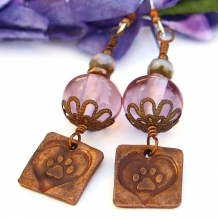"""Paw Prints On the Heart"" - Dog Rescue Earrings, Handmade Copper Paw Prints Hearts, Amethyst Lampwork Jewelry"