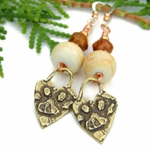 "Paw Prints on the Heart"" - Bronze Dog Paw Print Handmade Earrings, Ivory Lampwork Artisan Jewelry"