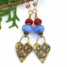 PAW PRINTS ON THE HEART - Rustic Dog Rescue Heart Paw Print Earrings, Gold Bronze Blue Opal Red Handmade Jewelry