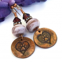 """Paws for a Cause"" - Dog Rescue Paw Print and Heart Earrings, Handmade Lampwork and Crystal Artisan Jewelry"