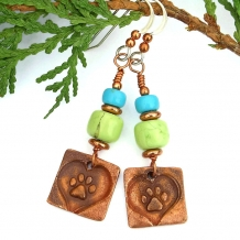 """""""Paws for a Cause"""" - Dog Rescue Artisan Earrings, Magnesite Turquoise Handmade Copper Jewelry"""