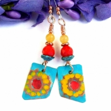 PICASSO'S SUNFLOWERS - Sunflower Earrings, Mykonos Coral Jade Handmade Jewelry
