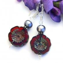 """Pretty Pansies"" - Red Pansy Czech Glass Handmade Earrings, Pearls, Artisan Flower Beaded Jewelry"