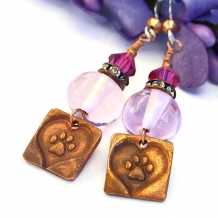 """""""Pretty Paws"""" - Artisan Handmade Dog Rescue Earrings with Pink Lampwork and Crystals"""