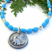PURRFECT - Purrfect Cat Rescue Handmade Necklace, Turquoise Magnesite Pewter Sterling Artisan Jewelry